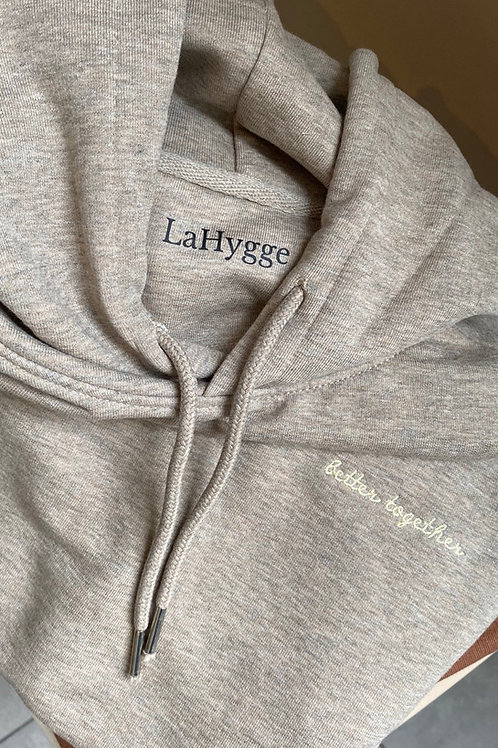 """Hoodie """"better together"""" Farbe Heather Sand"""