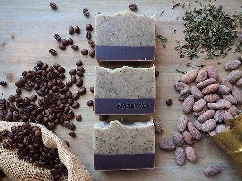 MORNING COFFEE Naturseife mit Kaffee Arabica, Pfefferminze & Bio-Kakaopulver. Pe
