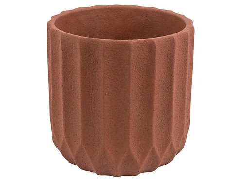 Pflanzen Kübel Stripes Cement Clay Brown