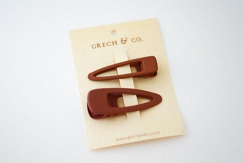 Grech & Co. Haarspangen 2er Set  Matte - Rust -