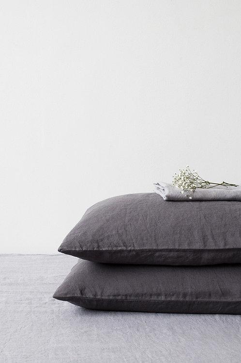 Leinen Kissenbezug Dark Grey  50x60
