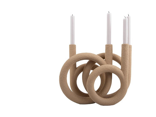 Kerzenhalter Ring Sand Braun