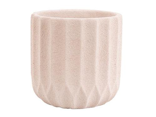 Pflanzen Kübel Stripes Cement Ivory