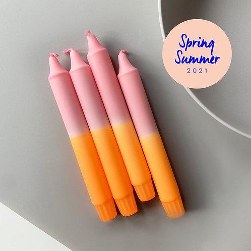 DipDye Tafelkerze 19cm Neon Orange/Rosé
