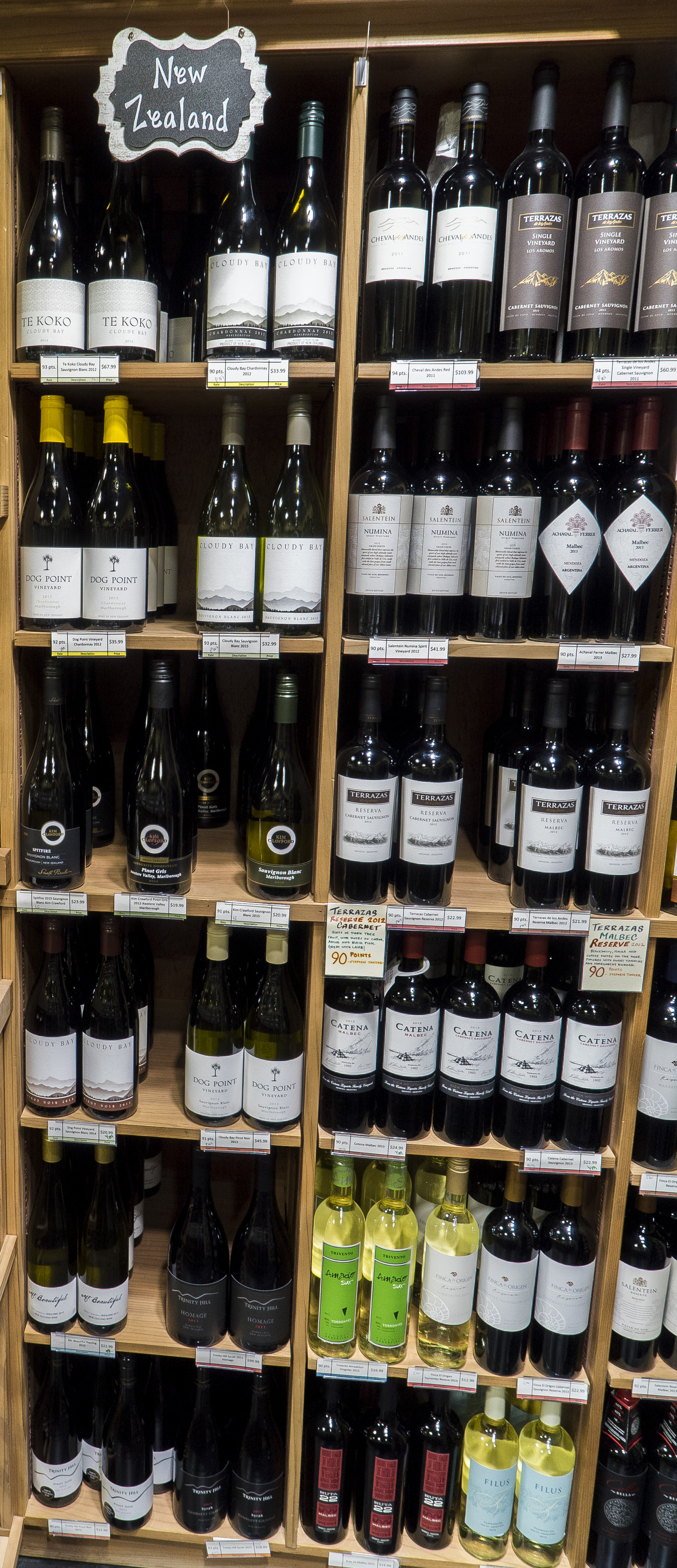 New Zealand Bottle section