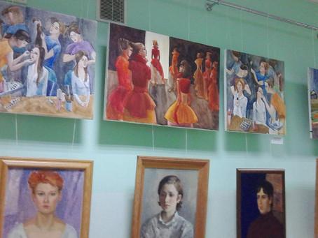 Выставка учащихся Дятьковской детской художественной школы в Брянском областном колледже искусств.
