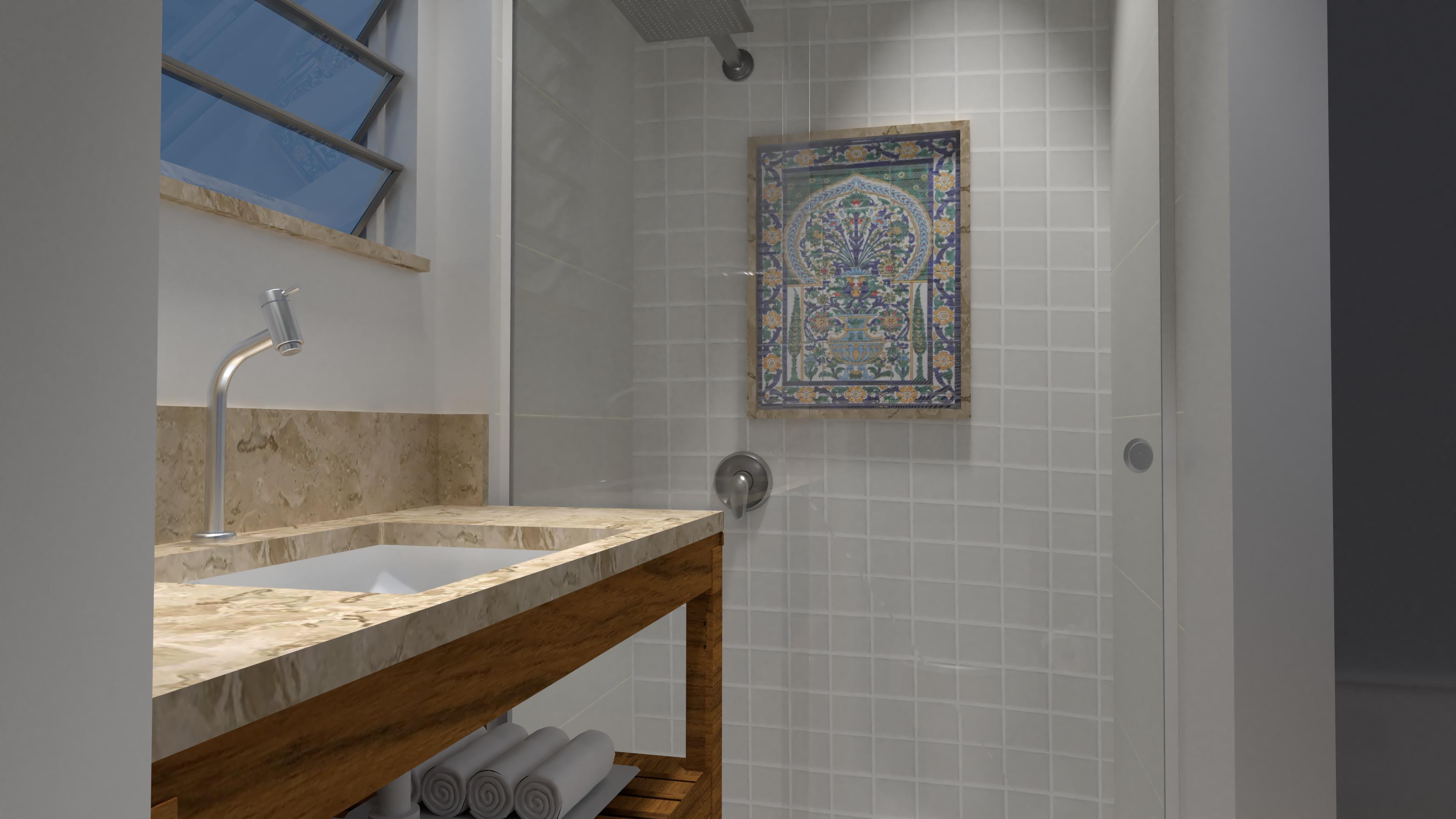 banheiro aprovado final com toalhas 4K