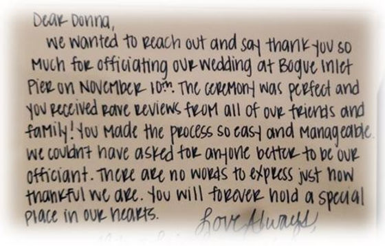 Thank you card to Donna Brown about wedding ceremony at Bogue Inlet Pier.