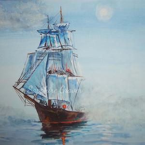 Sailing Ship Through the Fog