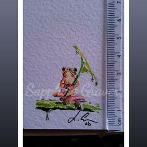 Frog with Leaf Umbrella. Miniature