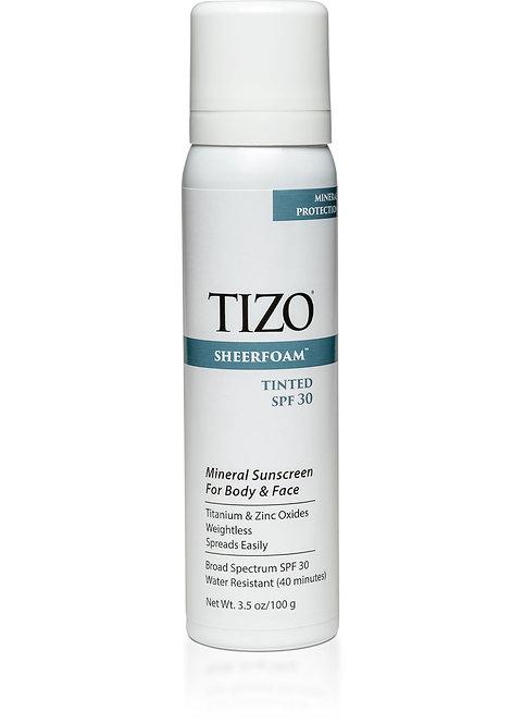 TIZO® SHEERFOAM™ BODY & FACE SUNSCREEN tinted dewy finish spf 30