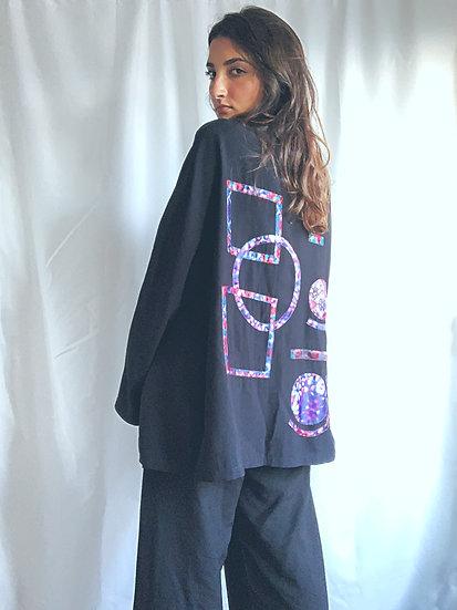 Blazer preto com estampa