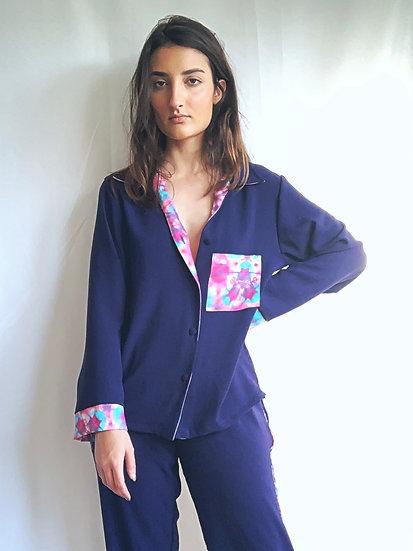 Camisa de pijama azul marinho