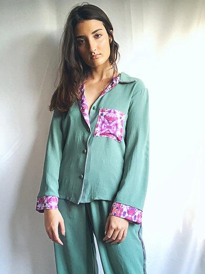 Camisa de pijama verde água
