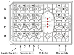 Scheme of the CellASIC ONIX2 microfluidic plate specially designed for mammalian cells