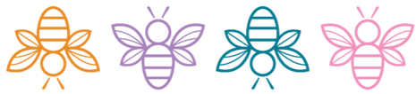 Illustrated bees in various colors (L to R orange, purple, teal, pink).