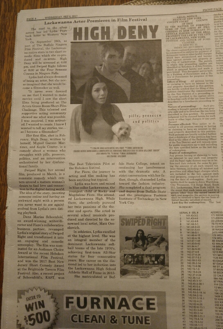"Buffalo Newspaper features the short ""High Deny"""