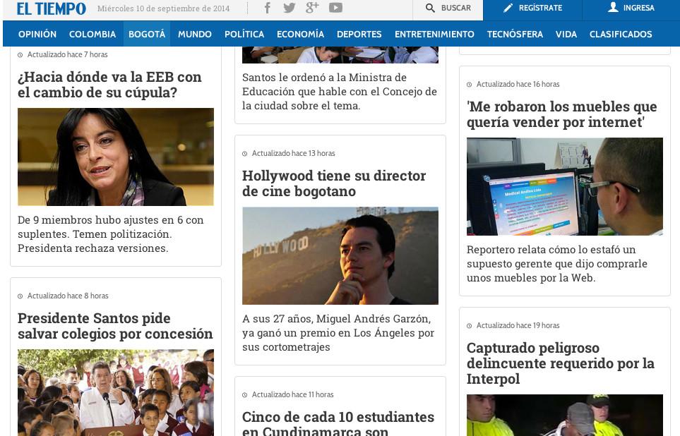 Miguel is featured in the website of El Tiempo