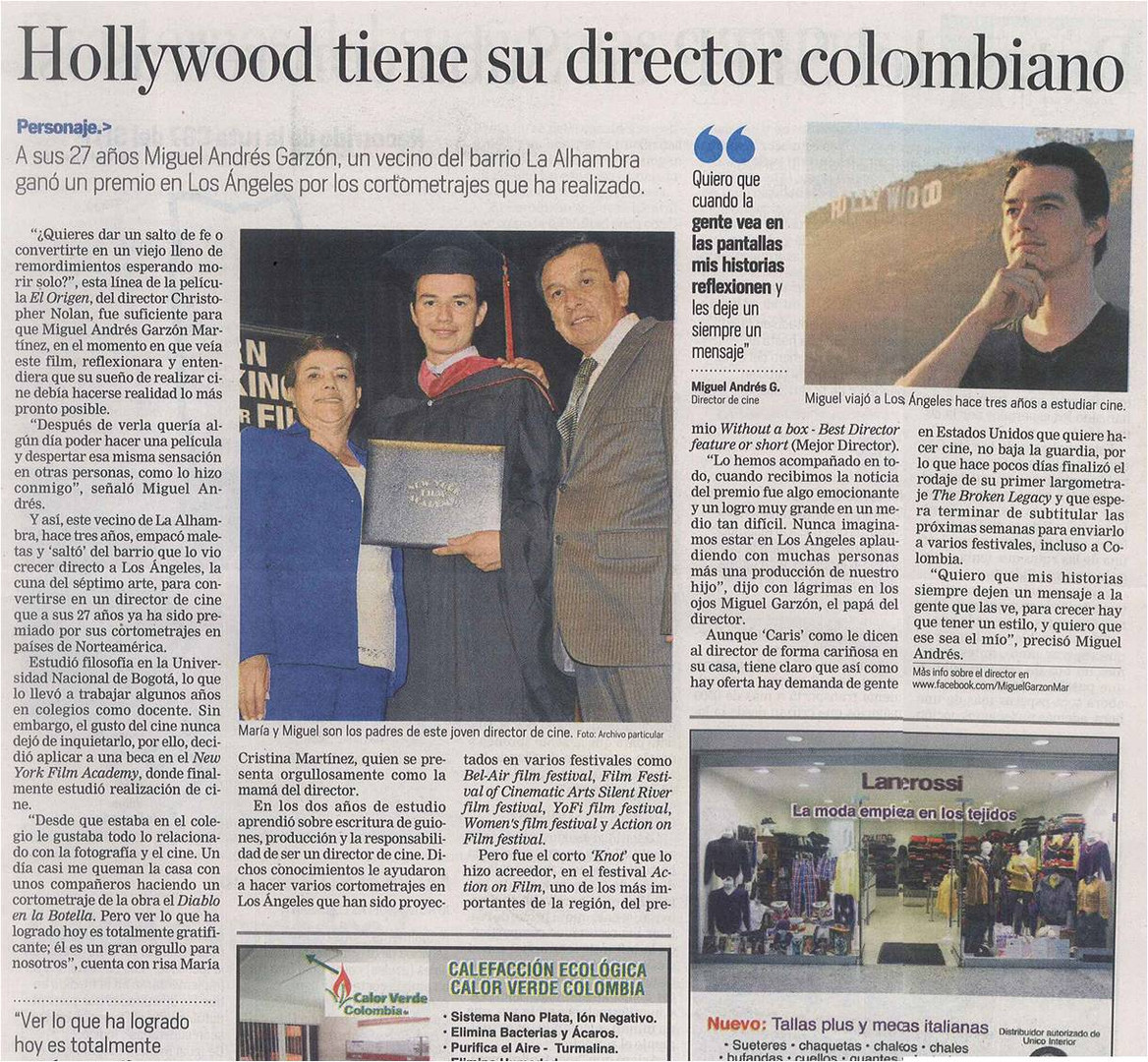Interview with El Tiempo, Colombia's largest newspaper