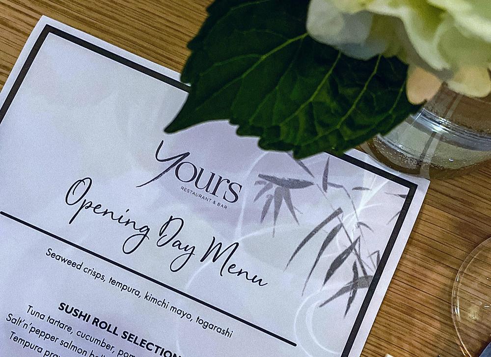 Yours restaurant menu