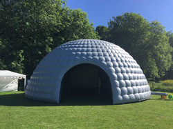 10m Grey and black party dome in field