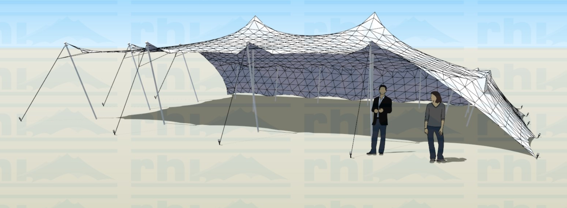 10x15 Stretch Tent - 2 sides down at All The Kit