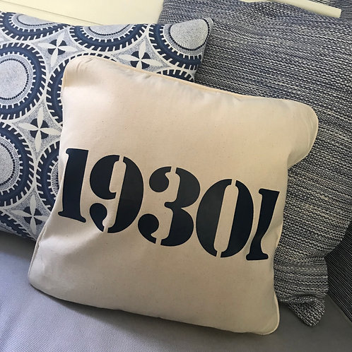 Canvas pillow cover with zip code 16x16