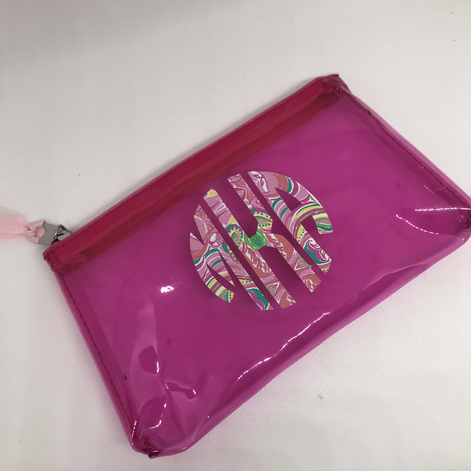 Pink clear zip pouch