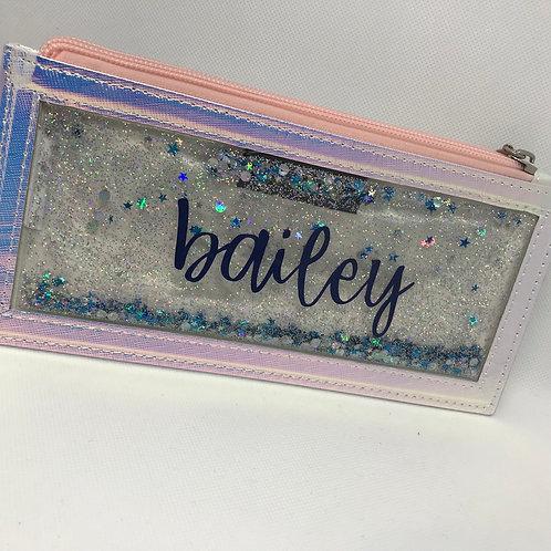 Floaty glitter iridescent zip pouch