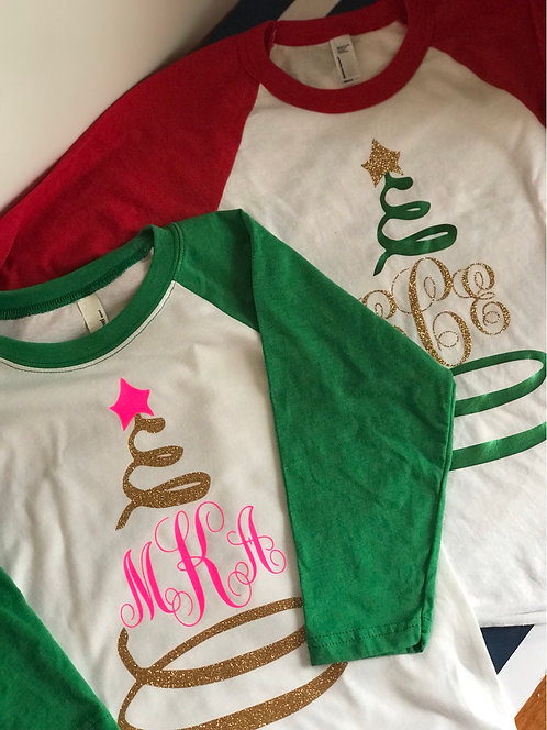 Raglan sleeve monogram holiday shirt