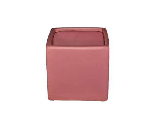 Roze vierkante bloempot