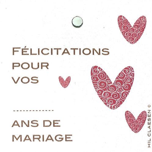 Felicitations pour vos XX ans de mariage!