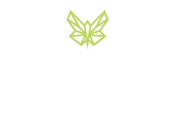 Plakat mit Green Butterfly Firmenlogo / zentriert-oben