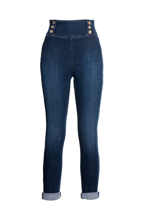 High Waist Jeggings Dark Wash