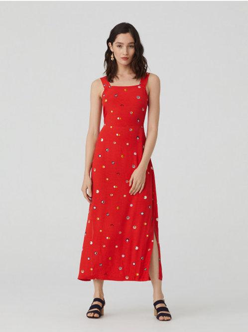 Swedish Dots Print Sleeveless Dress