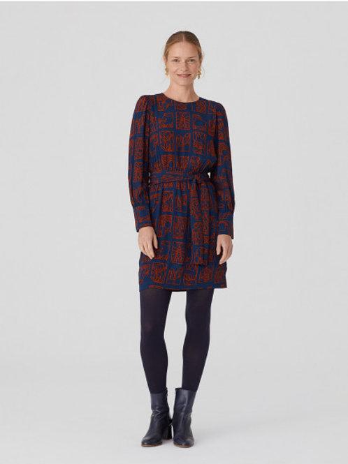 Zodiac print pleated short dress