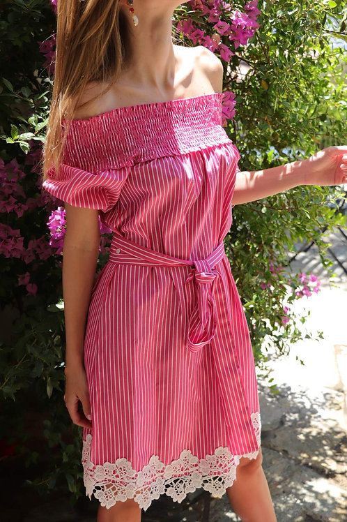 Schiffer Dress Fuschia Cream