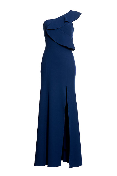 One Shoulder Dress Blue Navy
