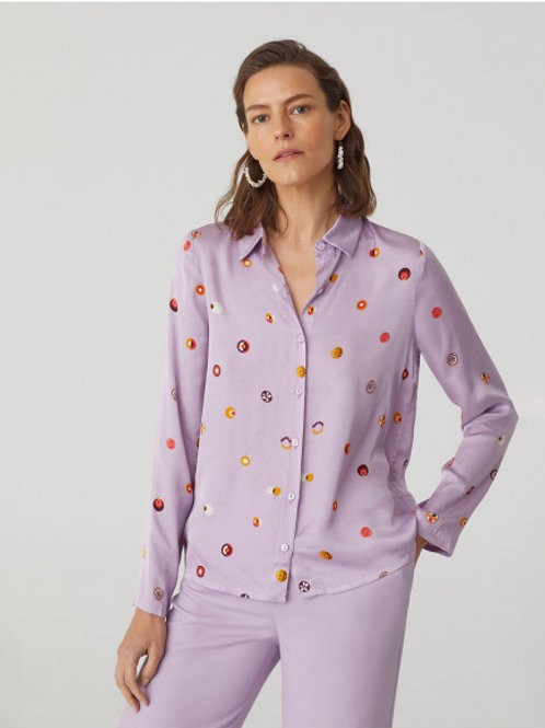 Swedish Dots Print Satin Shirt