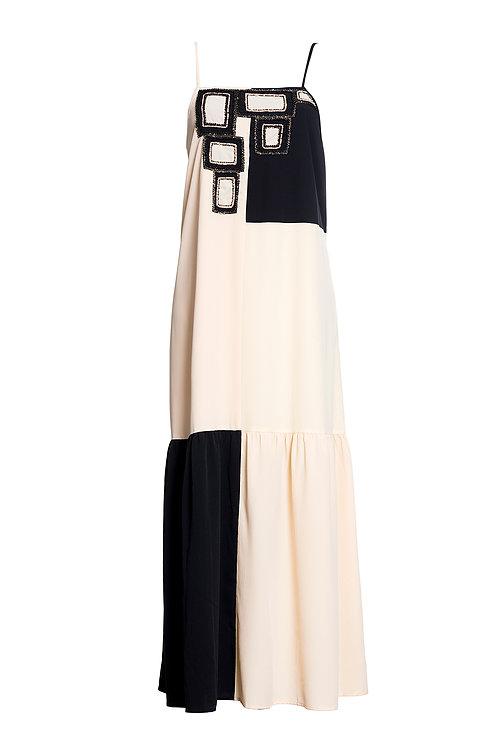 Long Dress Black Vanilla Cream