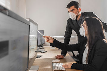 office workers, facemask, mask