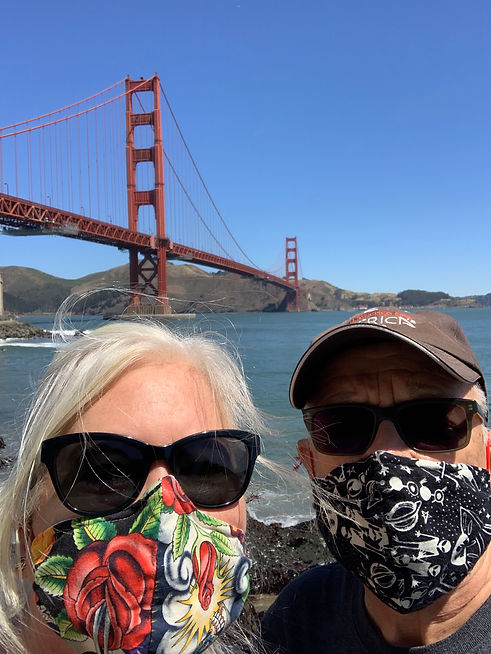 The inventors of HeartForm wearing facemasks with Golden Gate Bridge in the background