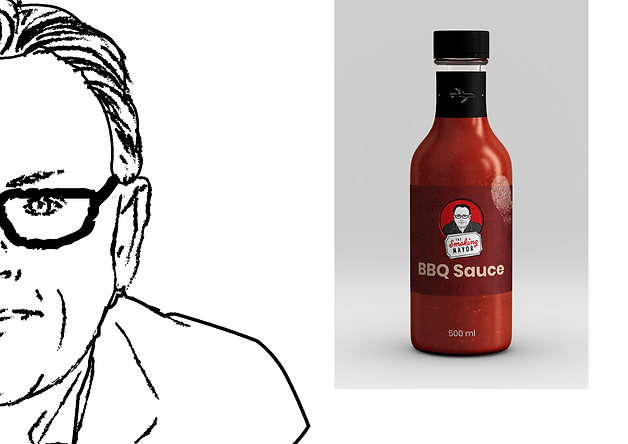 The branding is for a line of bbq sauces, hot sauces and spice rub products.   It's created by Yves Ducharme, former mayor of Gatineau, Canada. A former highschool dropout and a class clown, the former mayor decided to create his own sauces inspired by his travels.   What makes it different from the millionth other sauces on the market is that it incorporates flavours from his travels around the globe. As a politician, Ducharme was often away in Africa, in China, in Mexico, in Europe. He discovered funky flavours and ingredients that he now incorporate in his sauces, and that's what makes it different. It's not South Carolina, it's not Texas, it's the mayor's sauce!  The client wanted to have a design that respects the tradition but hold its own, travelling and discovery being a major part of their family.The original sauce is a blend of secret spices with a nice apple finish. Other sauces will complement the product line in the future. The branding needed to showcase both the legacy of the political man and his playful side people might discover. The client is looking to have an illustration of Yves on the label but are also curious about other ideas. No tagline is required.  The targeted audience: People who want to enjoy a Barbecue with a Twist. Might it be a little szechuan flavour or even some African spices no one has heard of.