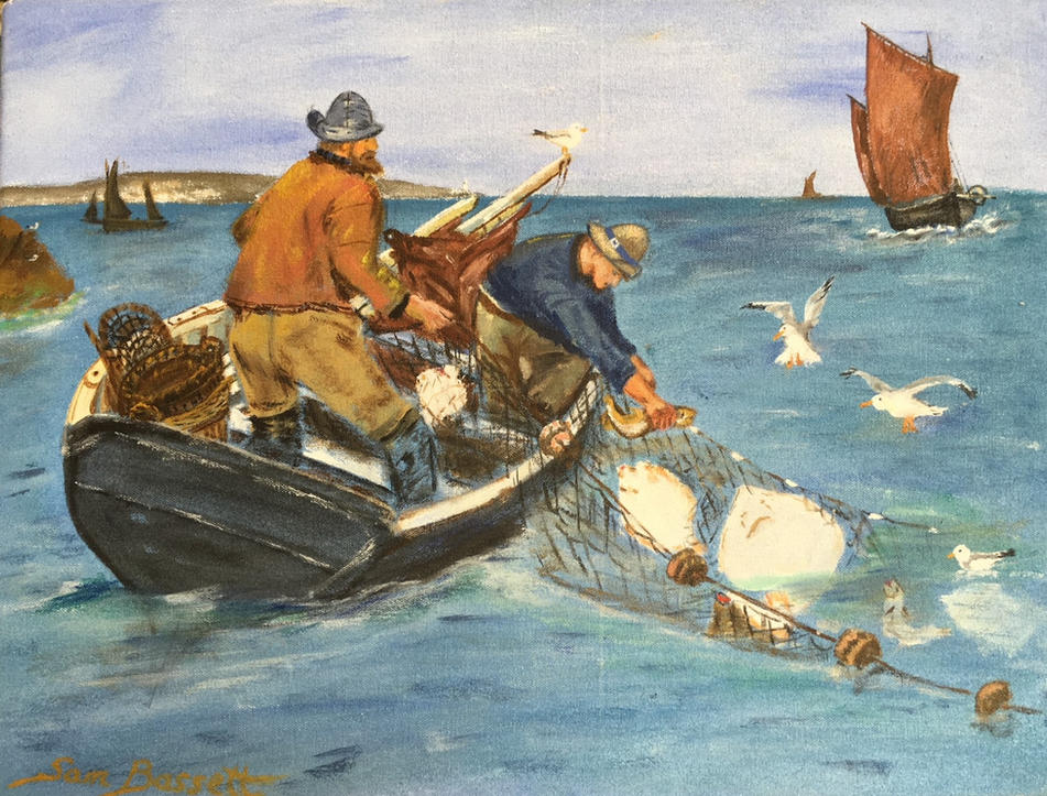 Father & Son Hauling their Nets - Catch of the Day
