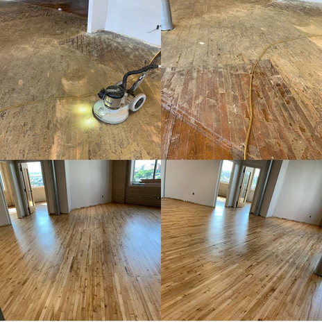 Before and after refinishing hardwood floors in living room
