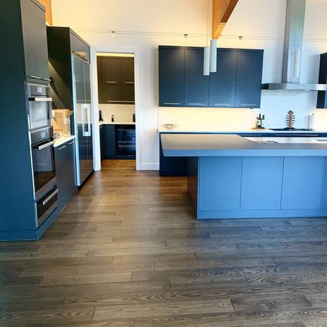 Dark wood floors in a kitchen