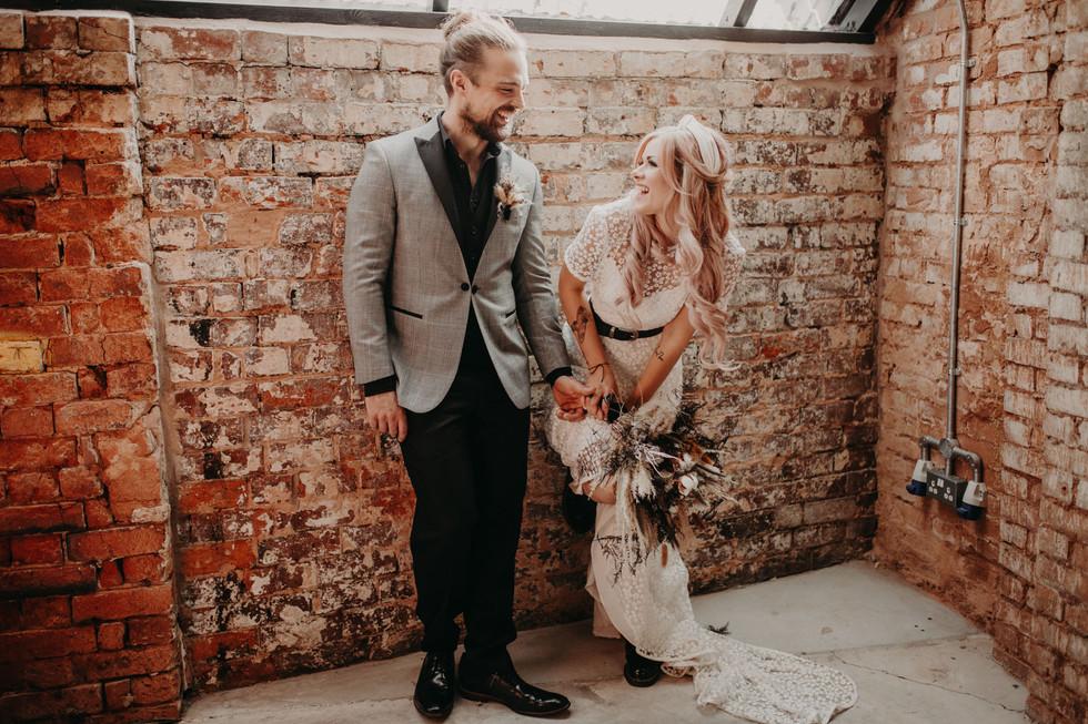 Casual candid wedding photo