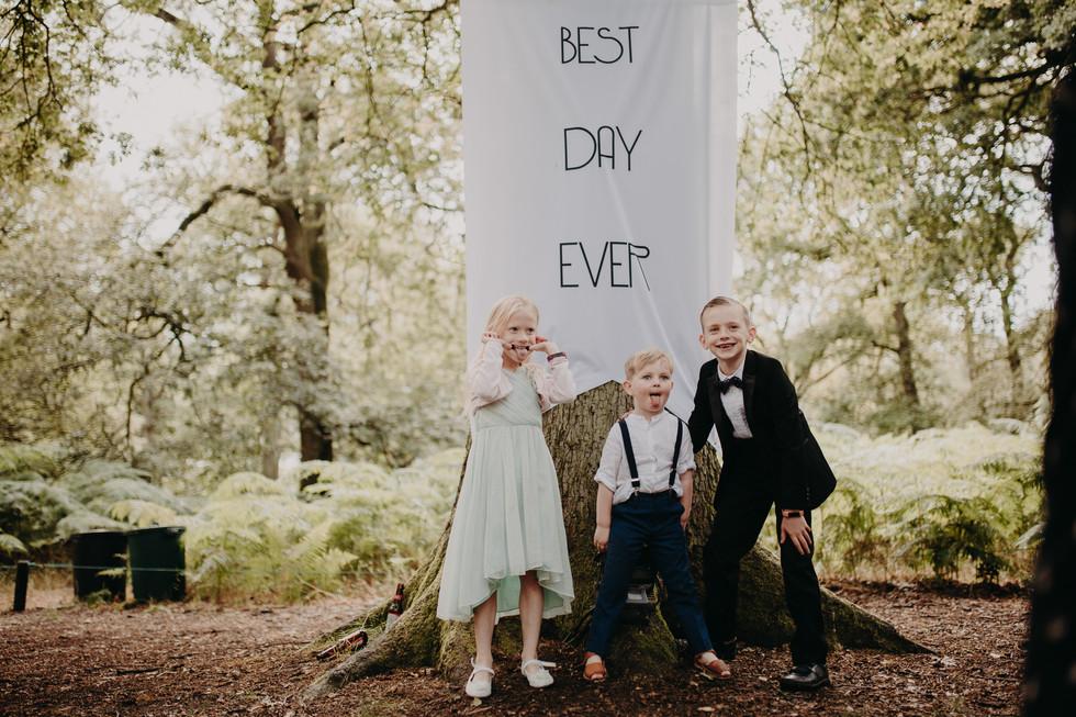 Wedding day woods