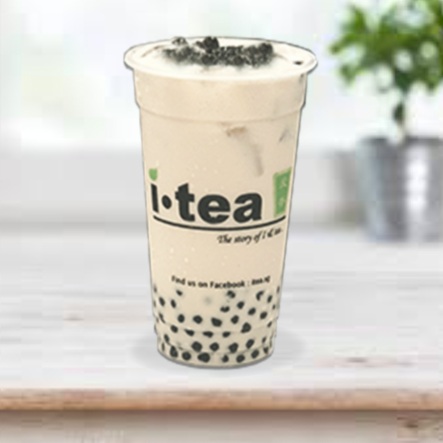 Green Milk Tea Pearl pink plain backgrou