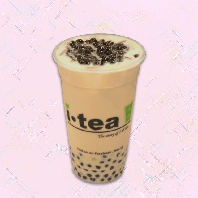 Pearl Milk Tea pink plain background